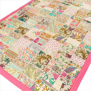 Pink Decorative Embroidered Patchwork Tapestry Boho Bohemian Wall Hanging - 40 X 60""