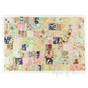 """White Patchwork Decorative Embroidered Tapestry Bohemian Wall Hanging - 40 X 60"""""""