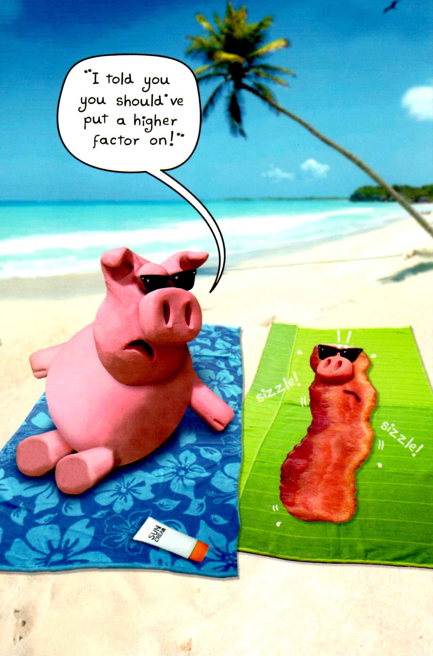 Funny sunbathing pigs bacon birthday card cards love kates funny sunbathing pigs bacon birthday card bookmarktalkfo Image collections