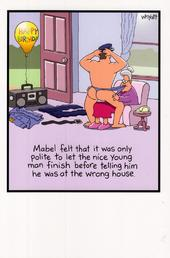 Funny Mabel Stripper Birthday Greeting Card