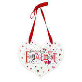 Congratulations On Your Engagement Heart Shaped Wooden Plaque
