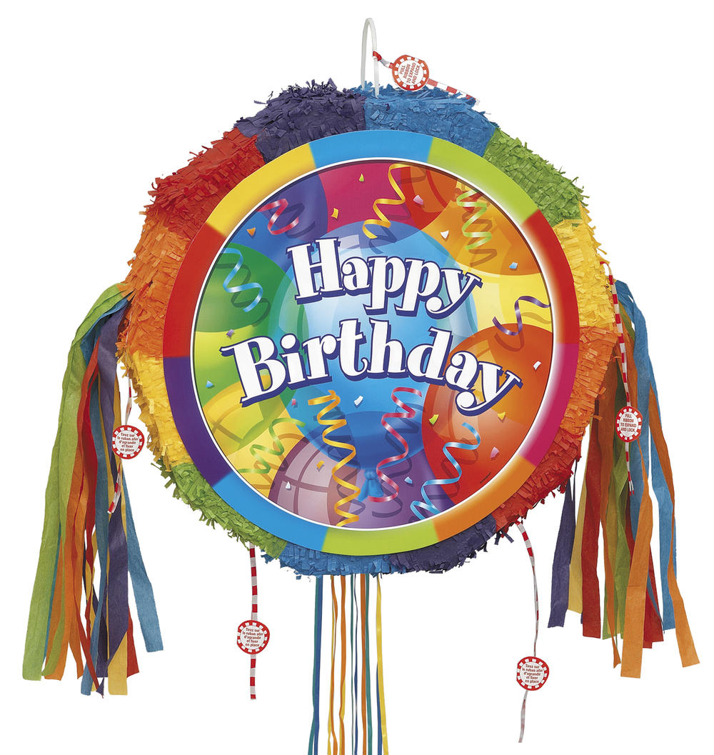 Happy Birthday Pinata Pull Ribbon String Pinatas