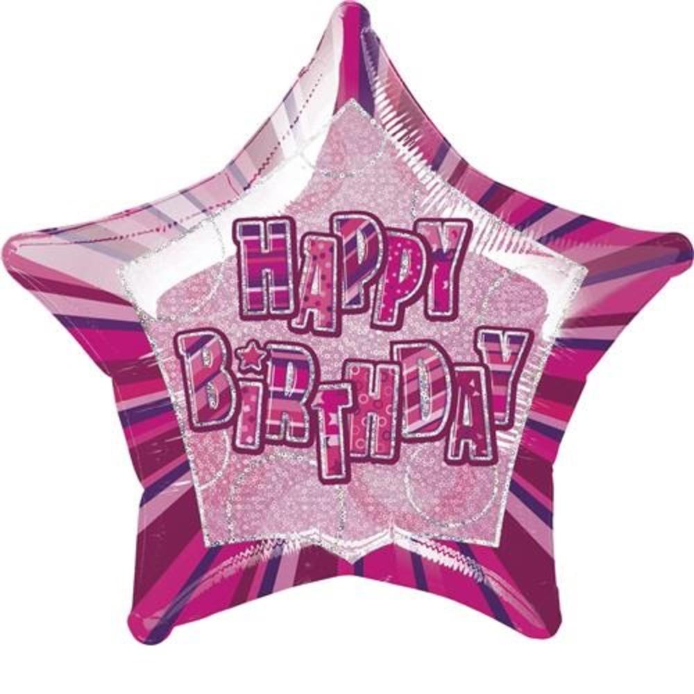 "20"" Pink Happy Birthday Prismatic Foil Helium Balloon"