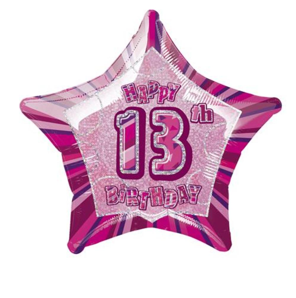 20 Pink Happy 13th Birthday Prismatic Foil Helium Balloon