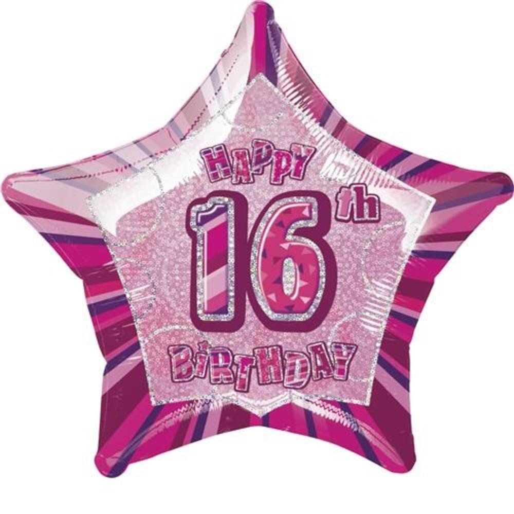 "20"" Pink Happy 16th Birthday Prismatic Foil Helium Balloon"