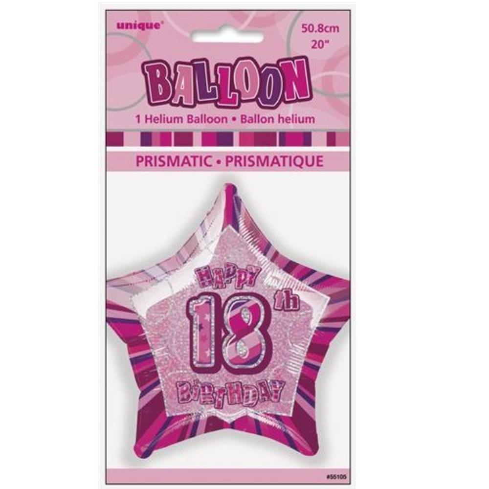 "Pink Happy 18th Birthday Balloon: 20"" Pink Happy 18th Birthday Prismatic Foil Helium Balloon"