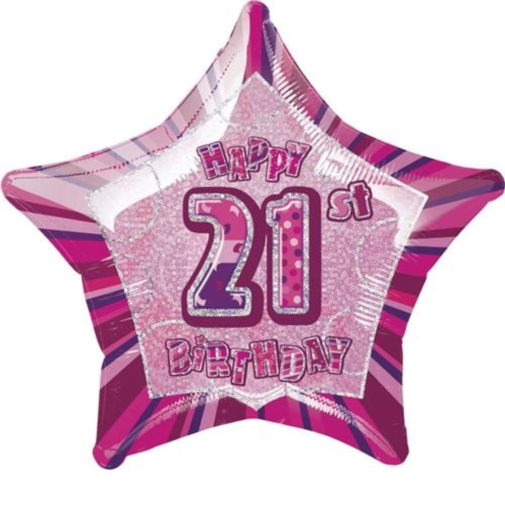 "20"" Pink Happy 21st Birthday Prismatic Foil Helium Balloon"