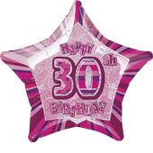 "20"" Pink Happy 30th Birthday Prismatic Foil Helium Balloon"