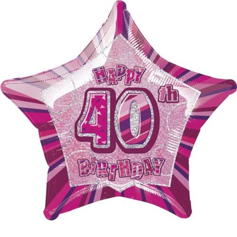 20 Pink Happy 40th Birthday Prismatic Foil Helium Balloon