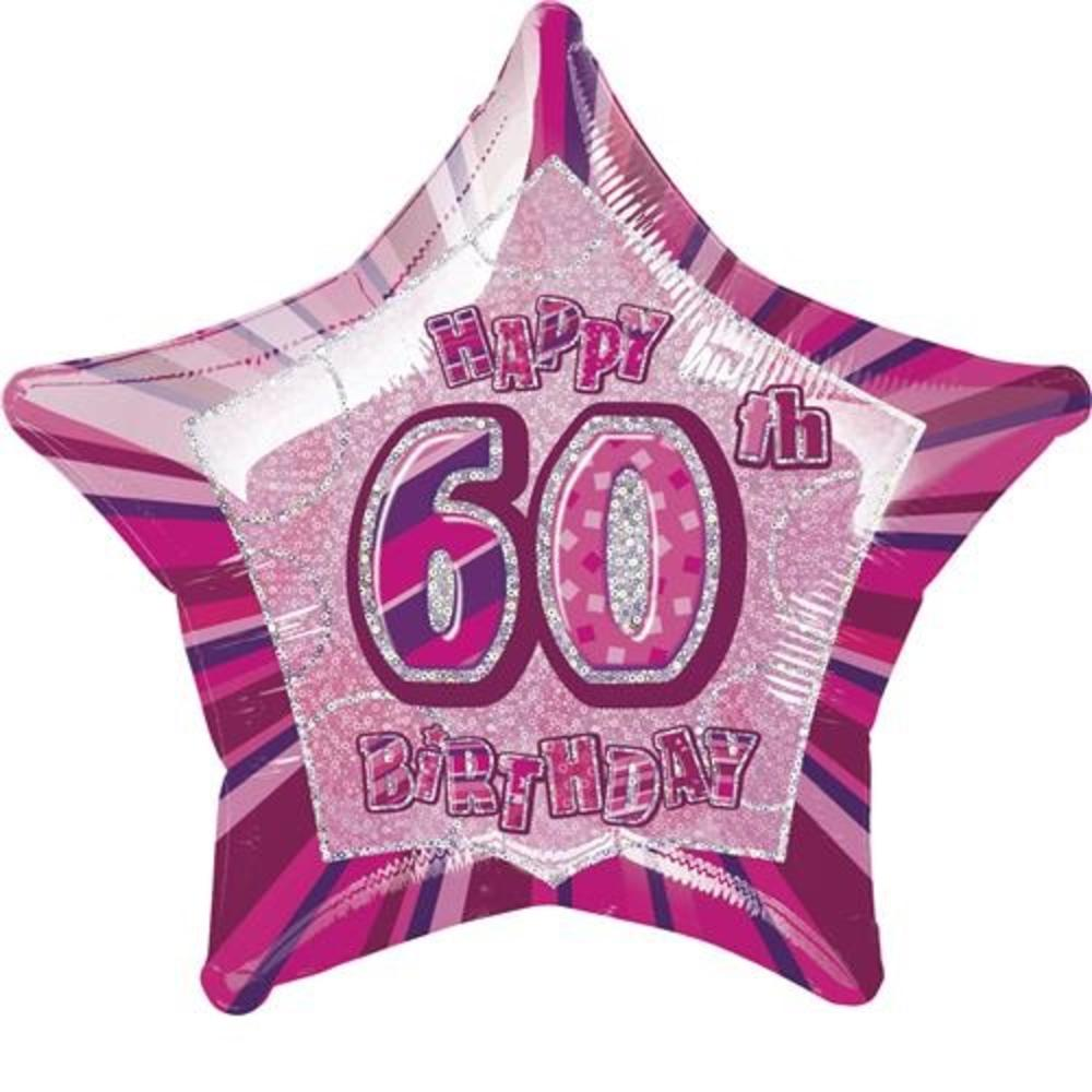 "20"" Pink Happy 60th Birthday Prismatic Foil Helium Balloon"