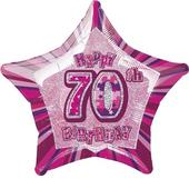 "20"" Pink Happy 70th Birthday Prismatic Foil Helium Balloon"