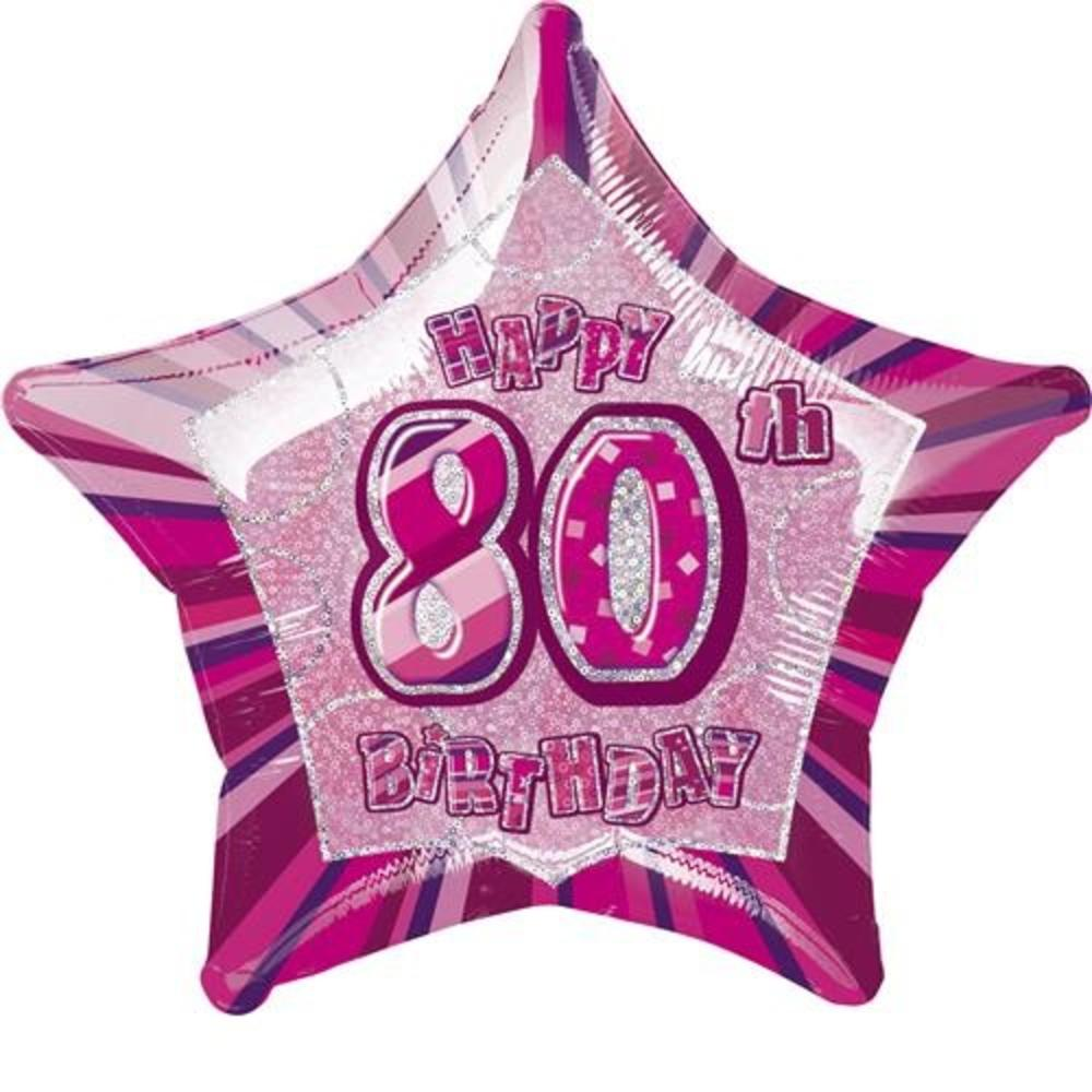"20"" Pink Happy 80th Birthday Prismatic Foil Helium Balloon"