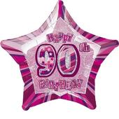 "20"" Pink Happy 90th Birthday Prismatic Foil Helium Balloon"