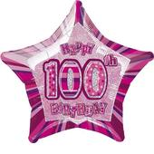 "20"" Pink Happy 100th Birthday Prismatic Foil Helium Balloon"