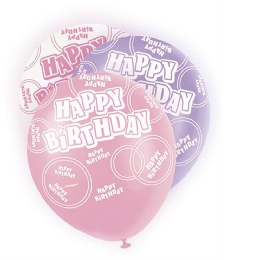 Pink Glitz Happy Birthday Pack Of 6 Latex Party Balloons