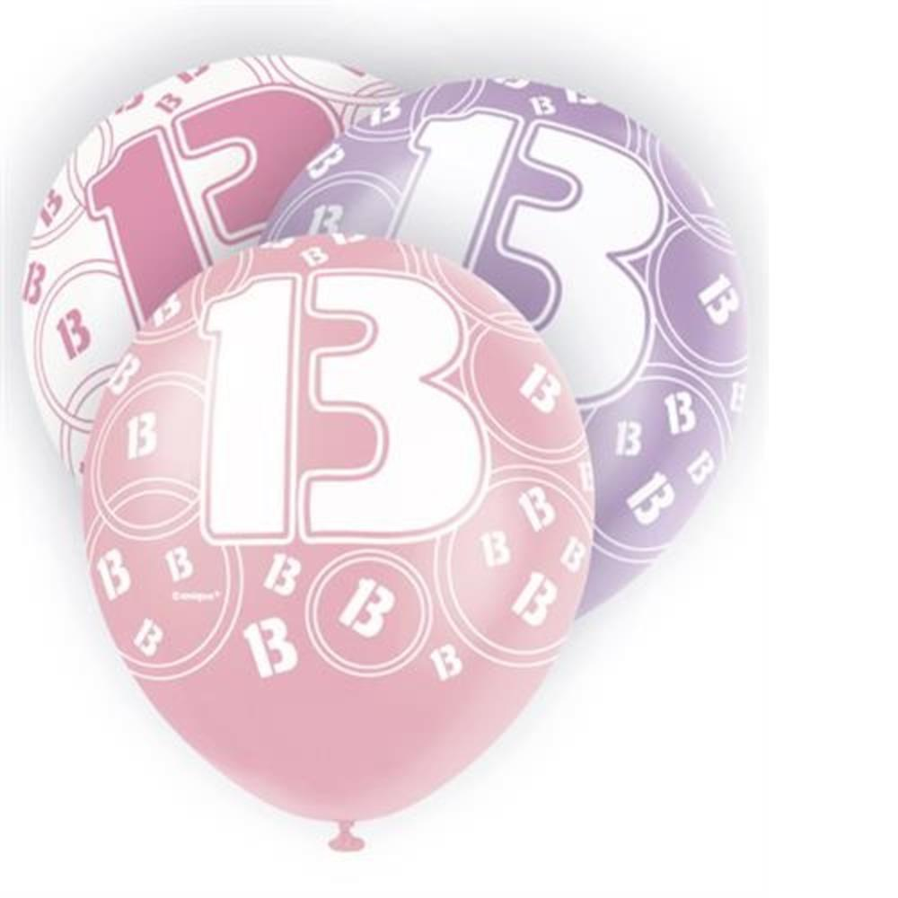 Pink Glitz 13th Birthday Age 13 Pack 6 Latex Party Balloons
