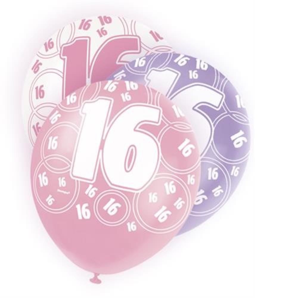 Pink Glitz 16th Birthday Age 16 Pack 6 Latex Party Balloons