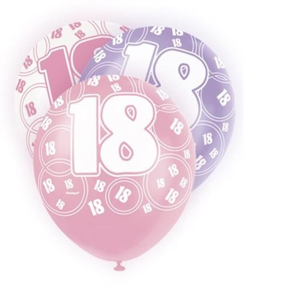 Pink Glitz 18th Birthday Age 18 Pack 6 Latex Party Balloons