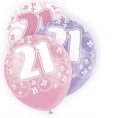 Pink Glitz 21st Birthday Age 21 Pack 6 Latex Party Balloons