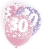 Pink Glitz 30th Birthday Age 30 Pack 6 Latex Party Balloons