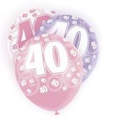 Pink Glitz 40th Birthday Age 40 Pack 6 Latex Party Balloons