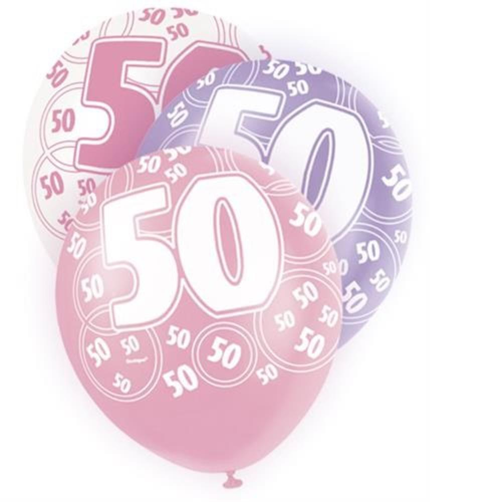 Pink Glitz 50th Birthday Age 50 Pack 6 Latex Party Balloons
