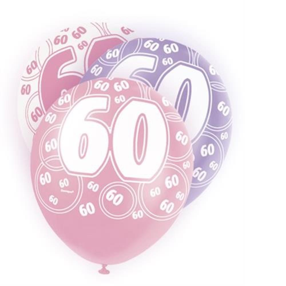 Pink Glitz 60th Birthday Age 60 Pack 6 Latex Party Balloons