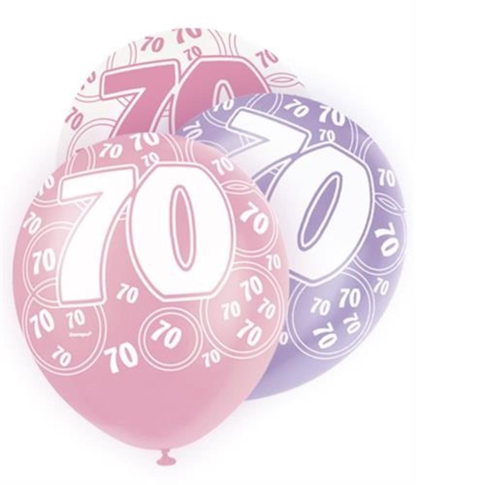 Pink Glitz 70th Birthday Age 70 Pack 6 Latex Party Balloons
