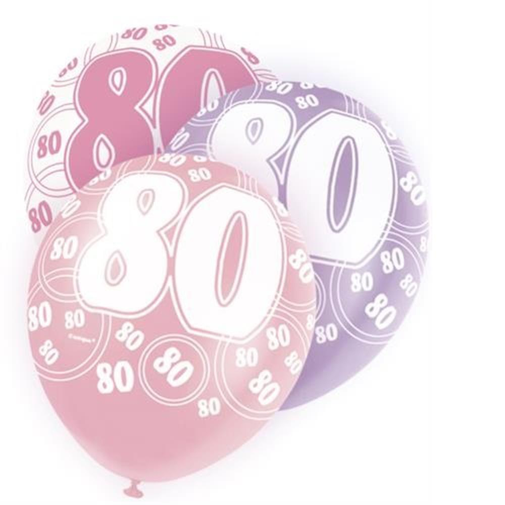 Pink Glitz 80th Birthday Age 80 Pack 6 Latex Party Balloons