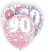 Pink Glitz 90th Birthday Age 90 Pack 6 Latex Party Balloons