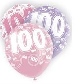Pink Glitz 100th Birthday Age 100 Pack 6 Latex Party Balloons