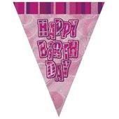 Pink Glitz Happy Birthday Flag Banner