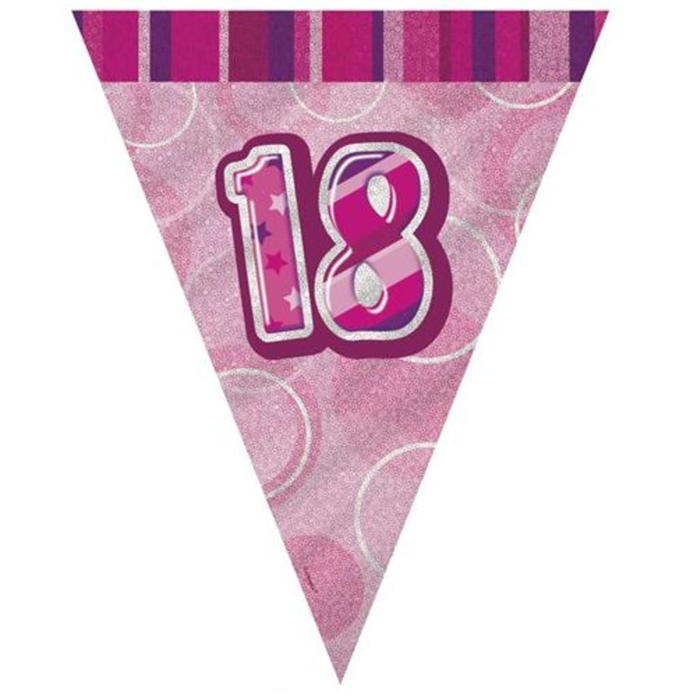 Pink Glitz 18 Flag Banner