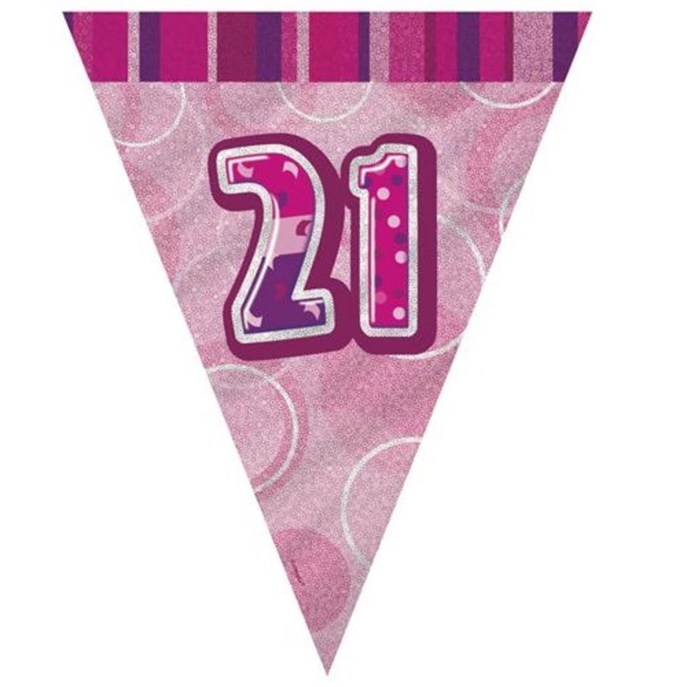 Pink Glitz 21 Flag Banner