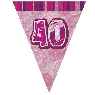 Pink Glitz 40 Flag Banner