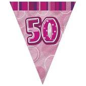Pink Glitz 50 Flag Banner