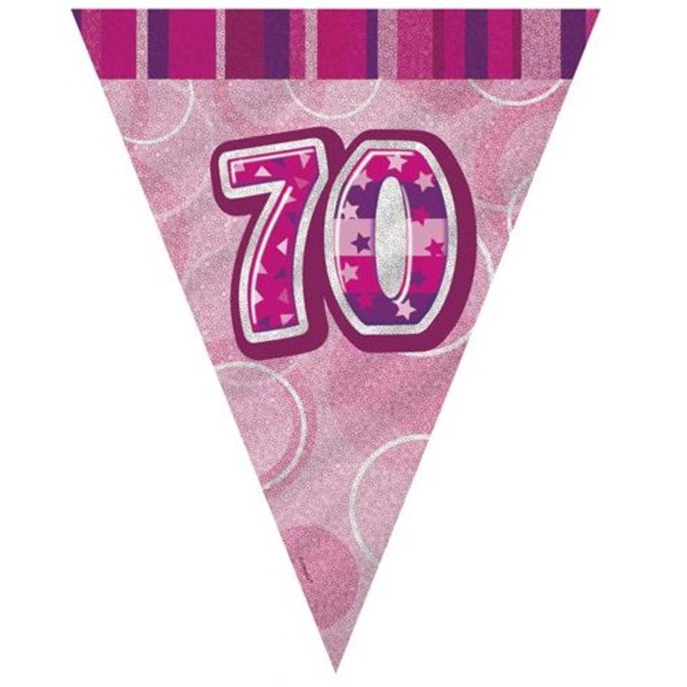 Pink Glitz 70 Flag Banner