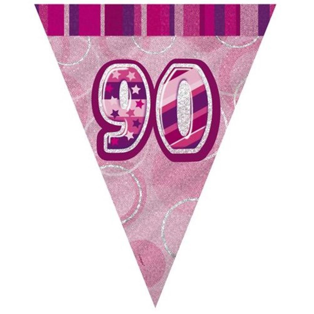Pink Glitz 90 Flag Banner