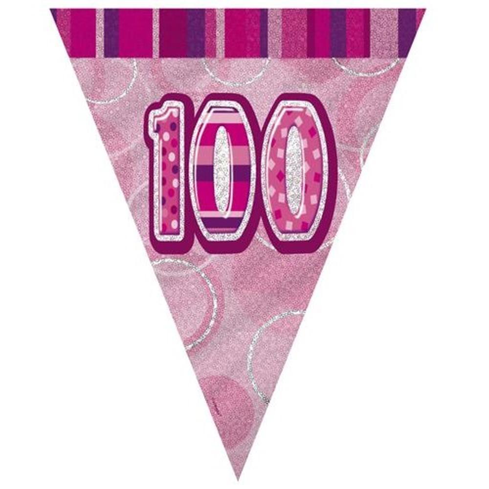 Pink Glitz 100 Flag Banner