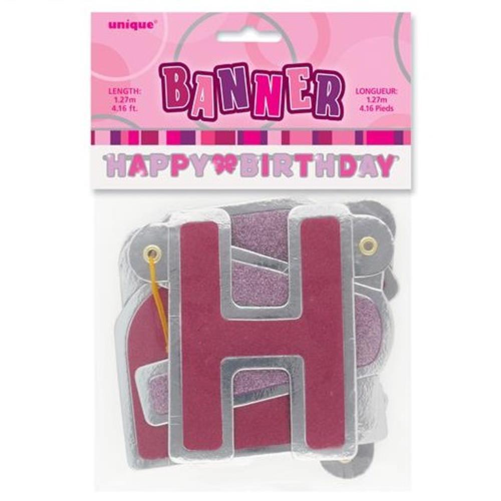 Pink Glitz Happy Birthday Banner Party Decorations