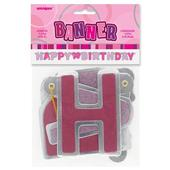 Pink Glitz Happy Birthday Banner Party Decorations