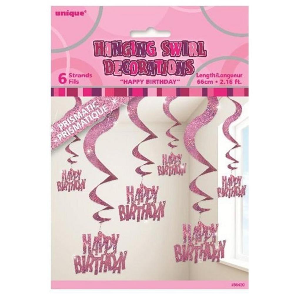 Pink Glitz Happy Birthday Hanging Swirl Decorations