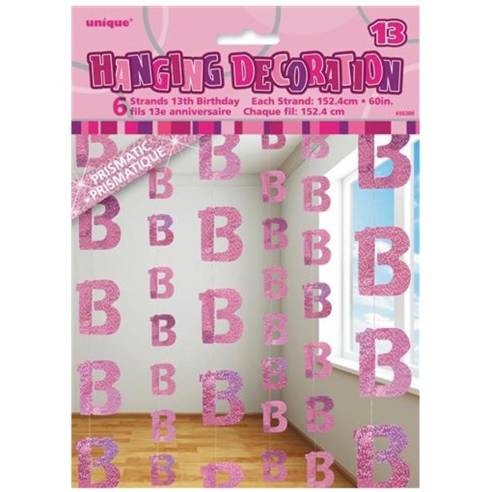Pink glitz 13th birthday hanging decorations banners for 13th birthday decoration ideas