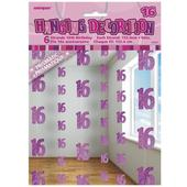 Pink Glitz 16th Birthday Hanging Decorations