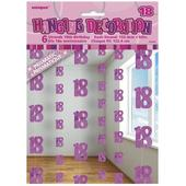 Pink Glitz 18th Birthday Hanging Decorations