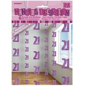 Pink Glitz 21st Birthday Hanging Decorations