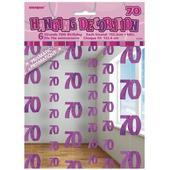 Pink Glitz 70th Birthday Hanging Decorations