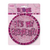 "Pink Glitz It's My Birthday Giant 6"" Birthday Badge"