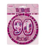 "Pink Glitz 90 Today 6"" Giant 90th Birthday Badge"