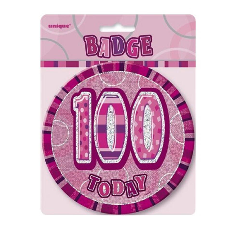"Pink Glitz 100 Today 6"" Giant 100th Birthday Badge"